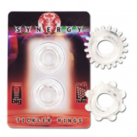 Synergy Tickler Rings Set Of 2 Rings Clear