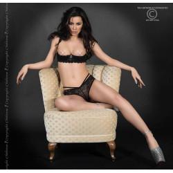 CR 3784 M Black Lace Set Open Bra + Panties