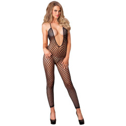 7289035 Seamless Crochet Footless Low Back Bodystocking O/S Black