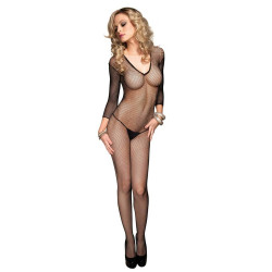 728378 Seamless Fishnet V Front Long Sleeves Bodystocking O/S Black