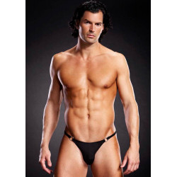 Microf. Thong w. Metal Rings Bl. L/XL