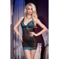 CR 4211 S Black Blue Babydoll + String
