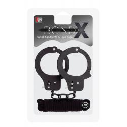 Bondx Metal Cuffs & Love Rope Set Black