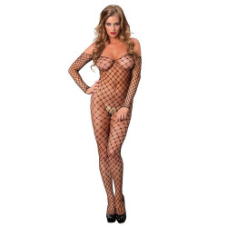 Off The Shoulder Bodystocking Black O/S