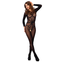 Opaque Illusion Bodystocking Black O/S