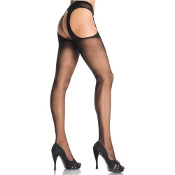 721901 SHEER SUSPENDER PANTYHOSE O/S BLK