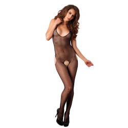 7289031 Seamless Fishnet Halter Suspender Bodystocking O/S Black