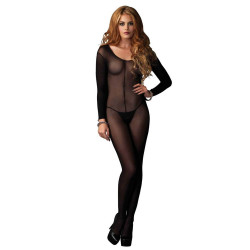 728297 Sheer Long Sleeves Bodystocking O/S Black
