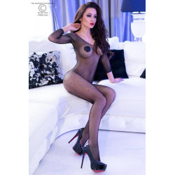 CR 4307 S/M Black Long Sleeve Bodystocking