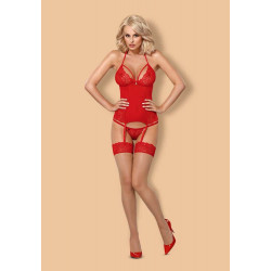 838-COR-3 corset & thong red L/XL